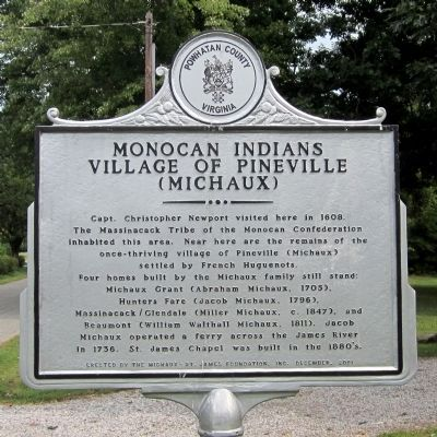 Monocan Indians Village of Pineville (Michaux) Marker image. Click for full size.