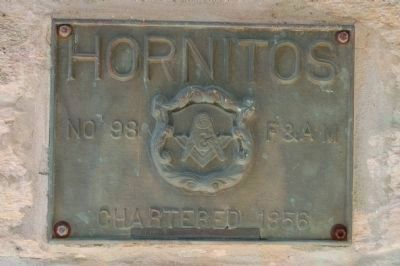 Plaque on Hornitos Masonic Lodge No. 98 image. Click for full size.