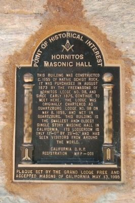 Hornitos Masonic Hall Marker image. Click for full size.