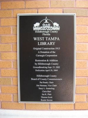 West Tampa Library Plaque image. Click for full size.