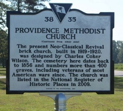 Providence Methodist Church Marker, rear text image. Click for full size.