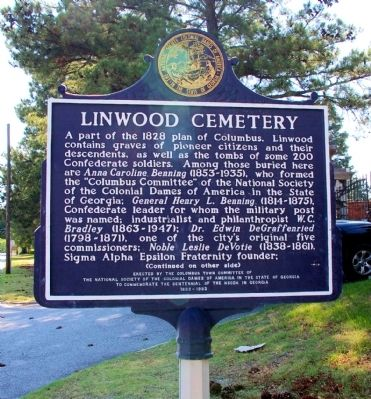Linwood Cemetery Marker, Side 1 image. Click for full size.