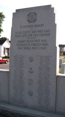 Obverse - Center Panel - - Floyd County Honor Roll & Veterans Memorial Marker image. Click for full size.