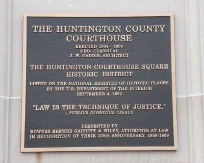 The Huntington County Courthouse Marker image. Click for full size.