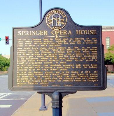 Springer Opera House Marker image. Click for full size.