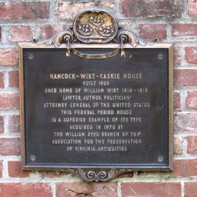 Hancock-Wirt-Caskie House Marker image. Click for full size.