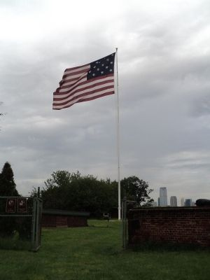 Flag in Fort Jay image. Click for full size.
