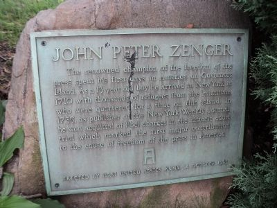 John Peter Zenger Marker image. Click for full size.