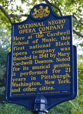 National Negro Opera Company Marker image. Click for full size.