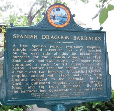 Spanish Dragoon Barracks Marker image. Click for full size.