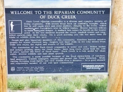 Welcome to the Riparian Community of Duck Creek Marker image. Click for full size.