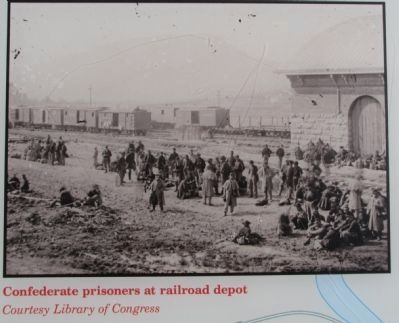 Confederate prisoners at railroad depot image. Click for full size.