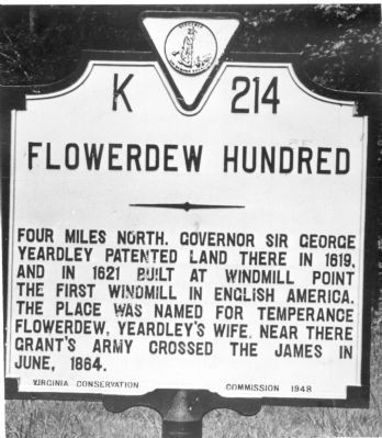 Previous Flowerdew Hundred Marker image. Click for full size.