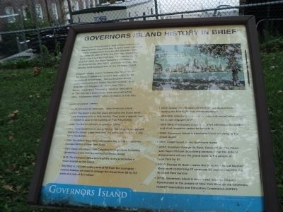 Governors Island History in Brief Marker image. Click for full size.