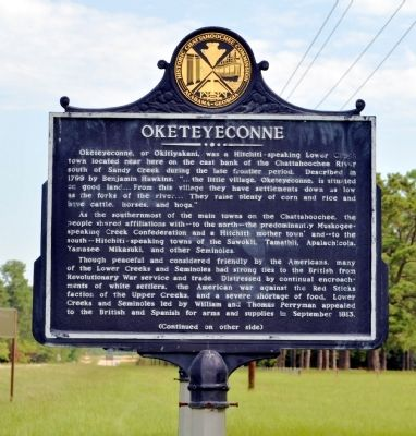 Oketeyeconne / Chattahoochee Theater Marker image. Click for full size.