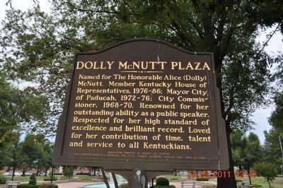 Dolly McNutt Plaza Marker reverse side image. Click for full size.