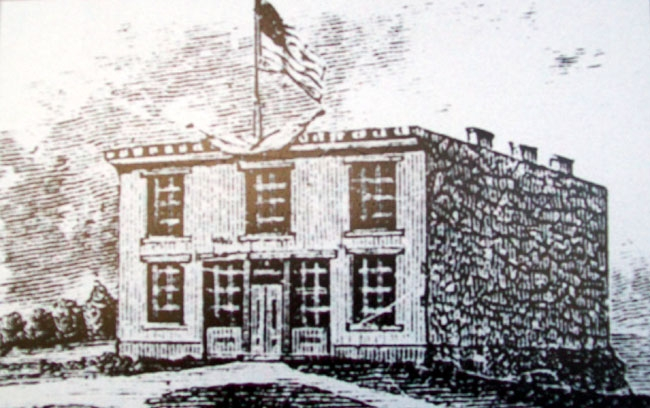 Constitution Hall -Topeka Lithograph on Marker