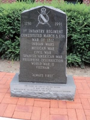 1st Infantry Regiment Marker image. Click for full size.