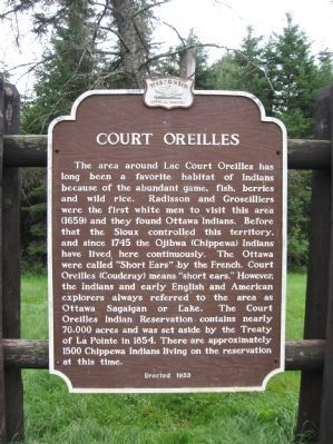 Court Oreilles Marker image. Click for full size.
