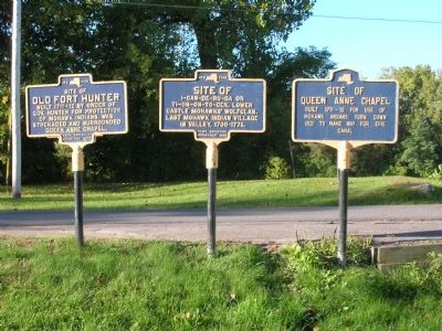 Site of Last Mohawk Indian Village Marker, Center image. Click for full size.
