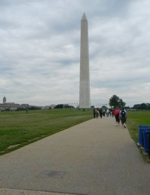Washington Monument - marker visible in the walkway, lower left image. Click for full size.