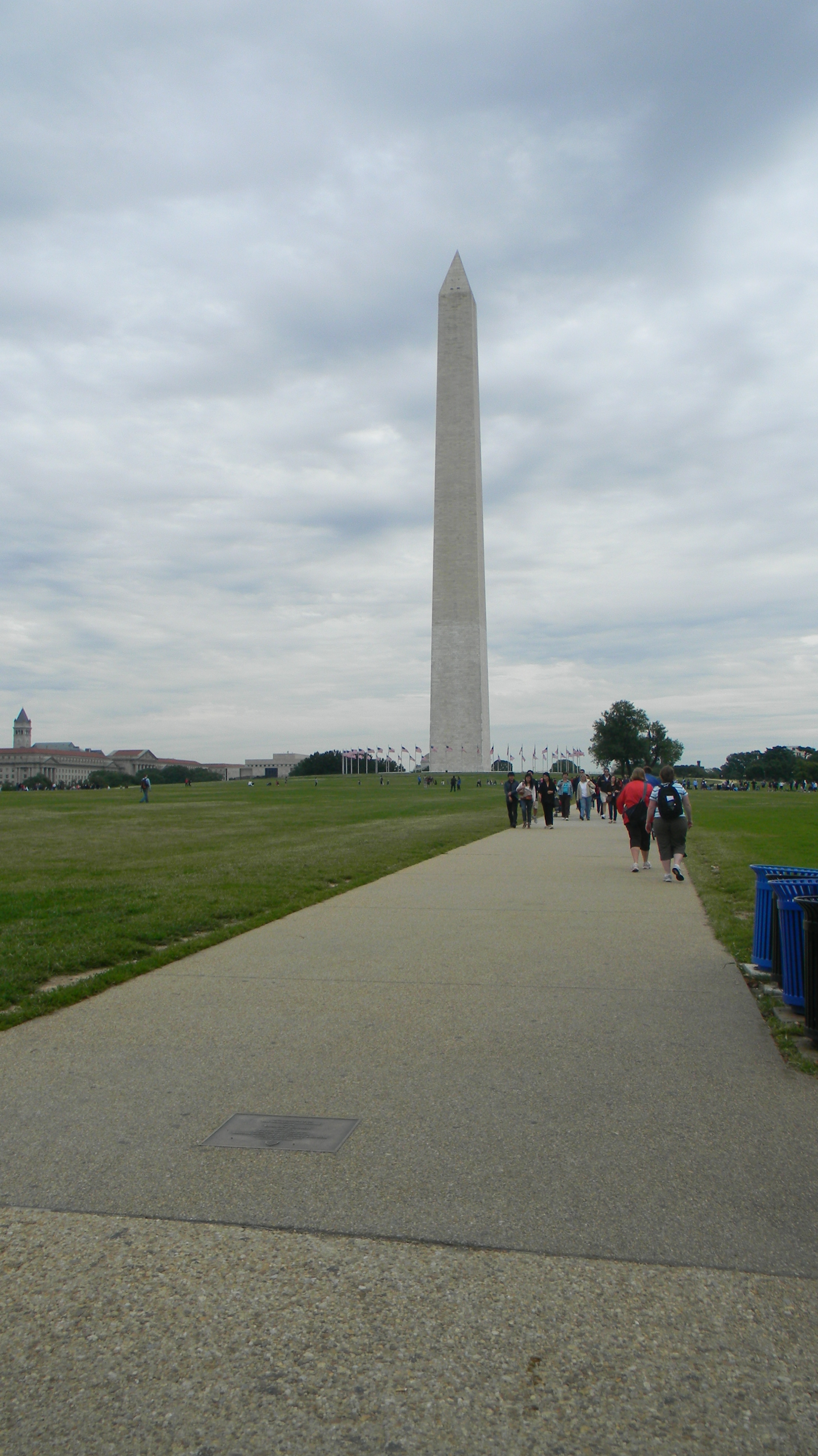 Washington Monument - marker visible in the walkway, lower left