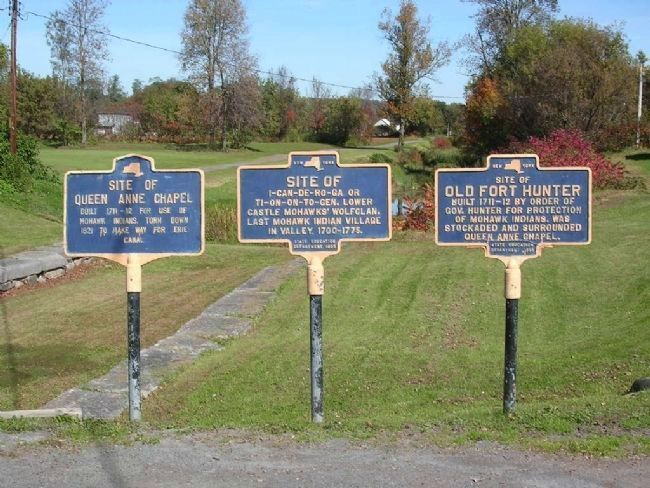 Site of Last Mohawk Indian Village Marker, In Center image. Click for full size.