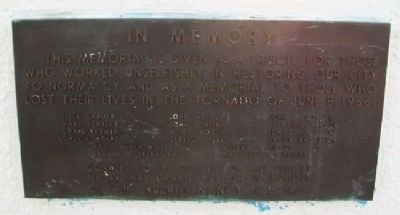Topeka Tornado Victims Memorial Marker image. Click for full size.