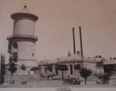 The Fresno Water Tower with the Church-Sperry Mill in Background image. Click for full size.