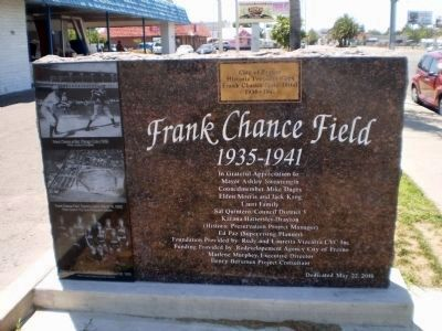 Reverse Side of Frank Chance Field 1935-1941 Marker image. Click for full size.
