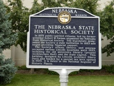 The Nebraska State Historical Society Marker image. Click for full size.