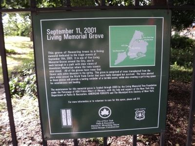 September 11, 2001 Living Memorial Grove	 Marker image. Click for full size.