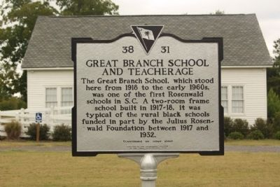 Great Branch School and Teacherage Marker image. Click for full size.