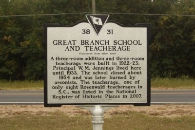 Great Branch School and Teacherage Marker, reverse side image. Click for full size.