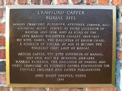 Crawford - Capper Burial Site Marker image. Click for full size.