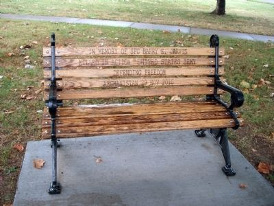 "Memorial Bench - - ""SFC Barry E. Jarvis"" image. Click for full size."