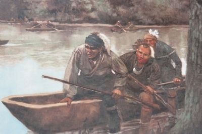 Image of the Indian Allies exiting the canoes to carry out their assault on the village. image. Click for full size.