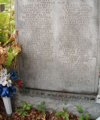 Lower Section - - Perry County Indiana Honor Roll Memorial Marker image. Click for full size.