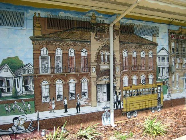 Mural featuring El Centro Español de West Tampa image. Click for full size.