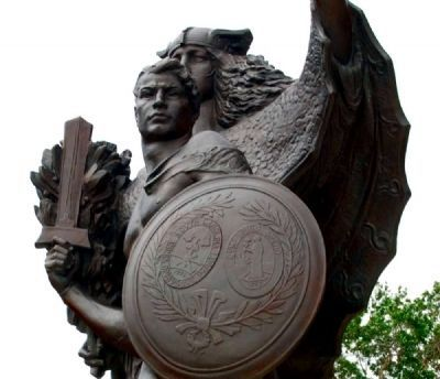 Confederate Defenders of Charleston Statue<br>Note the Seal of South Carolina on the Shield image. Click for full size.