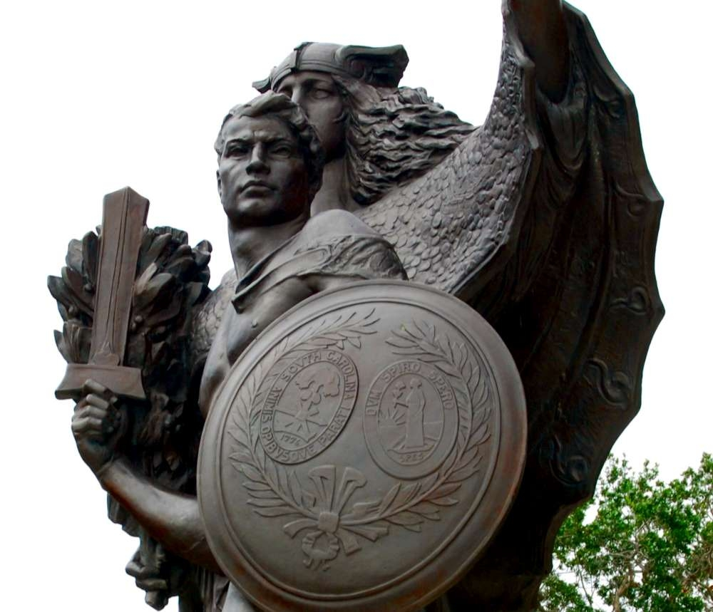Confederate Defenders of Charleston Statue<br>Note the Seal of South Carolina on the Shield
