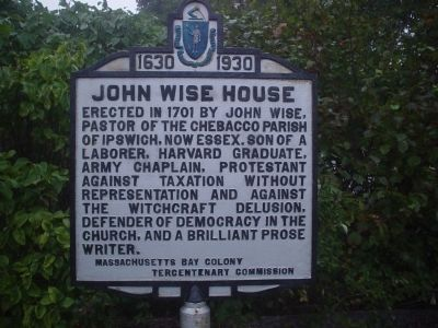 John Wise House Marker image. Click for full size.