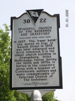 Episcopal Church of the Redeemer and Graveyard Marker Reverse image. Click for full size.