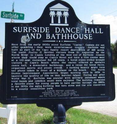 Surfside Dance Hall and Bathhouse Marker image. Click for full size.