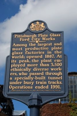 Pittsburgh Plate Glass Ford City Works Marker image. Click for full size.