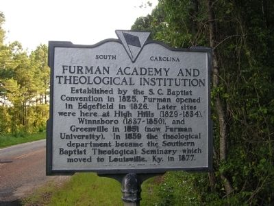 Furman Academy and Theological Institution Marker image. Click for full size.