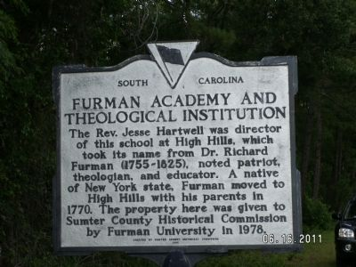 Furman Academy and Theological Institution Marker Reverse image. Click for full size.