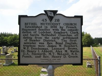 Bethel United Methodist Church Marker image. Click for full size.