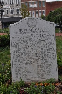 Bowling Green The Confederate Capitol of Kentucky Marker image. Click for full size.