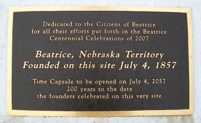 Founding of Beatrice, Nebraska Territory Marker